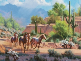 "Arizona landscape western Sonoran Ponies 20"" x 30"" oil painting by Tom Haas"