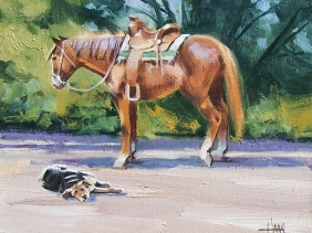 """Western Dog Horse Tuckered Out 8"""" x 10"""" oil painting by Tom Haas"""