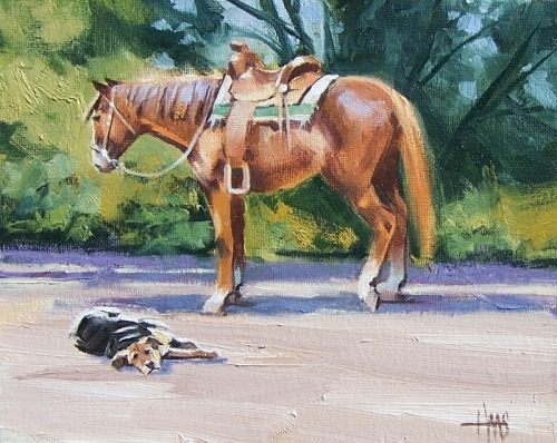 "Western Dog Horse Tuckered Out 8"" x 10"" oil painting by Tom Haas"