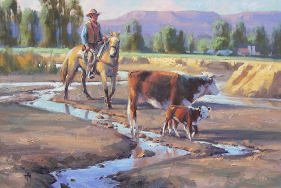 """Along the Hassayampa 24"""" x 36"""" oil painting by Tom Haas"""