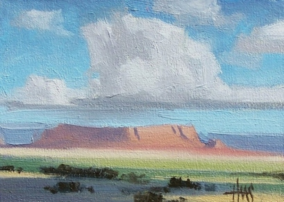 """Navajo Country - New Mexico 5"""" x 7"""" plein air oil painting by Tom Haas"""