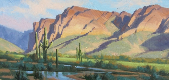"Near Goldfield - Arizona 15"" x 30"" oil painting by Tom Haas"