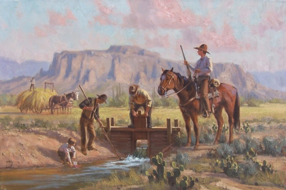 """Weatern Arizona Superstitiion Mountains Precious Resource 24"""" x 36"""" oil painting by Tom Haas"""