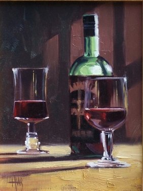 "Red Wine 12"" x 9"" oil painting by Tom Haas"