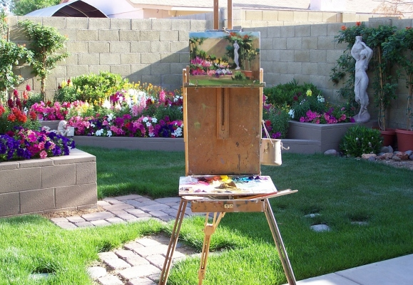 Water Bearer oil painting in process in garden
