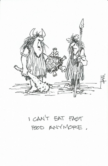 I cant eat fast food 2015 cartoon drawing by Tom Haas
