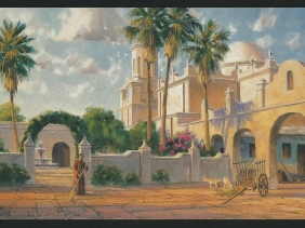"""Quiet Devotion - San Xavier Mission 24"""" x 36"""" oil painting by Tom Haas"""
