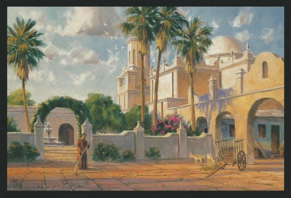 "Quiet Devotion - San Xavier Mission 24"" x 36"" oil painting by Tom Haas"