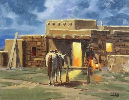 """Before Dawn - Taos 11"""" x 14"""" oil painting by Tom Haas"""