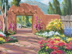 """Courtyard Fragrance 24"""" x 36"""" oil painting by Tom Haas"""