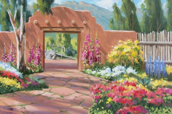 "Courtyard Fragrance 24"" x 36"" oil painting by Tom Haas"