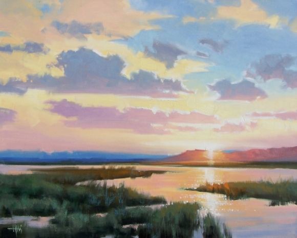 "Halcyon Evening - Verde River 24"" x 30"" oil painting by Tom Haas"