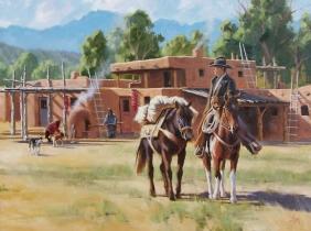 "Pueblo Trader 30"" x 40"" oil painting by Tom Haas"