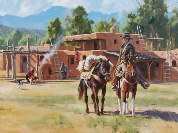 "Pueblo Trader 30"" x 40"" oil painting by Tom Haas"