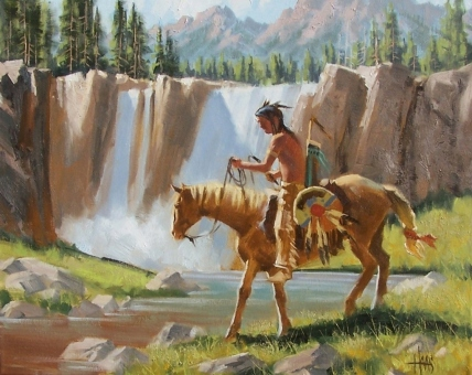 """Shoshone Falls 16"""" x 20"""" oil painting by Tom Haas"""