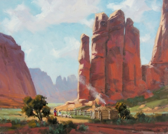"""Windswept Canyon - Monument Valley, Arizona 24"""" x 30"""" oil painting by Tom Haas"""