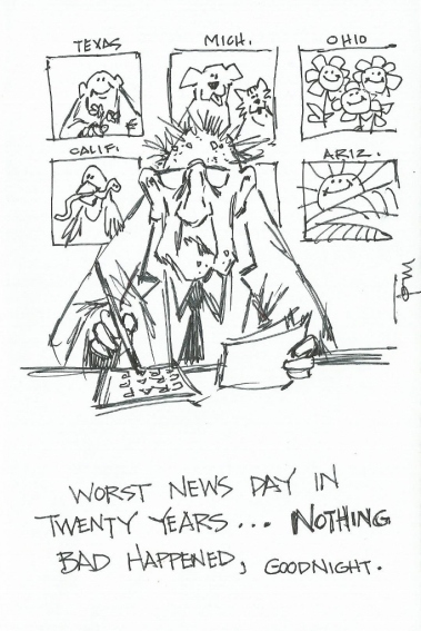 Worst News Day 2015 cartoon drawing by Tom Haas