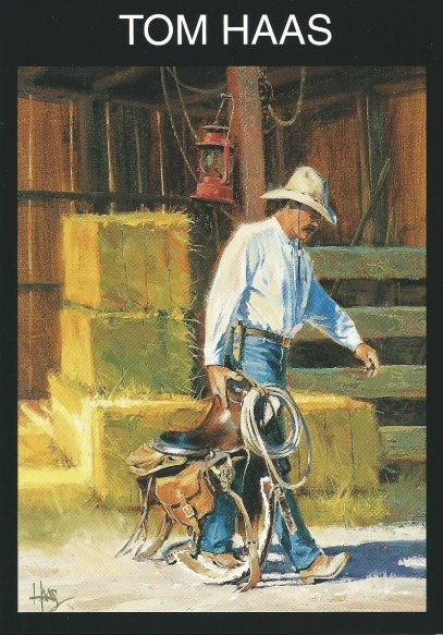 "Ain't Enough Hours 24"" x 18"" oil painting by Tom Haas - scan of late 1990's postcard - Award-winning painting at the 1996 Phippen Western Art Show, Prescott, Arizona"