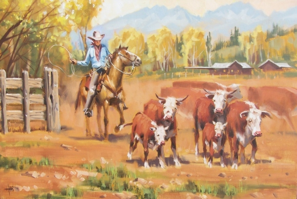 "Western Dry Creek Ranch 20"" x 30"" oil painting by Tom Haas"