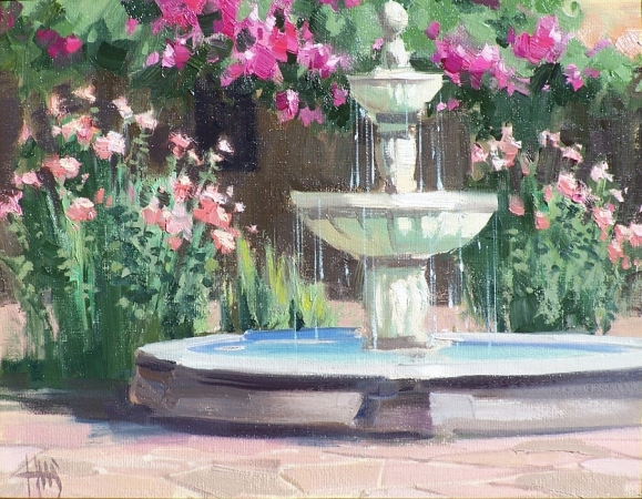 "Fountain 16"" x 20"" plein air oil painting by Tom Haas"