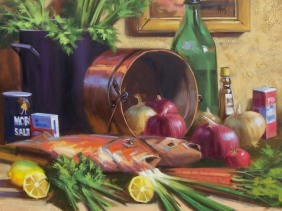 "Gourmet Night 36"" x 36"" oil painting by Tom Haas"