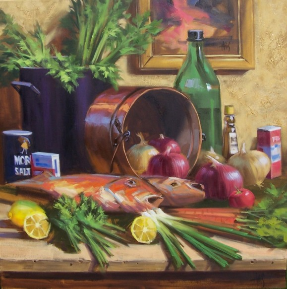 "Gourmet Night 36"" x 36"" oil painting by Tom Haas"