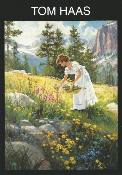 """Hillside Flower 48"""" x 36"""" oil painting by Tom Haas - scan of late 1990's postcard - Sold"""