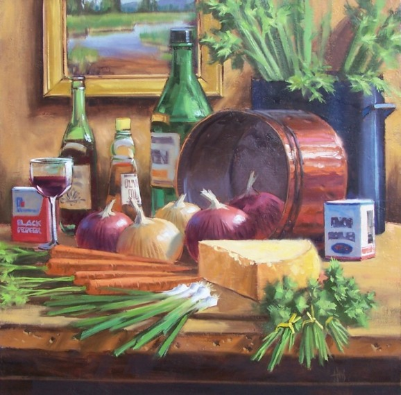 "Onion Soup 30"" x 30"" oil painting by Tom Haas"