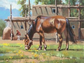"Retirement - Taos, New Mexico 20"" x 24"" oil painting by Tom Haas"
