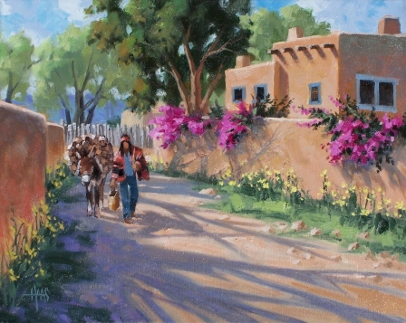 "Short Cut - Santa Fe, New Mexico 16"" x 20"" oil painting by Tom Haas"