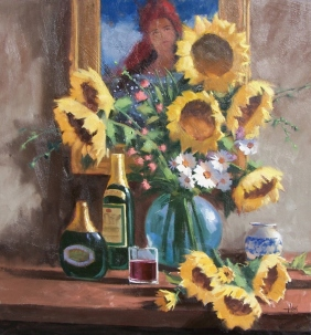 "Sunflowers 30"" x 28"" oil painting by Tom Haas"