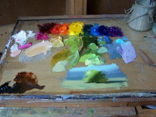 "Tom Haas ""thumbnail"" oil sketch on palette."
