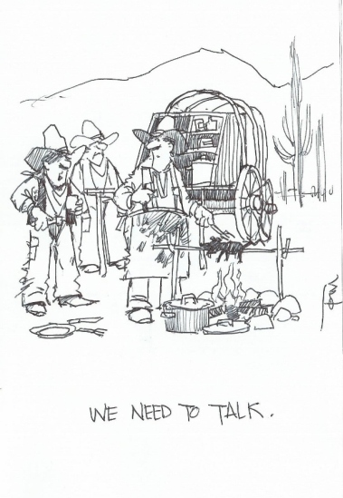 We Need to Talk 2015 cartoon drawing by Tom Haas