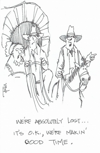 We're Absolutely Lost 2015 cartoon drawing by Tom Haas