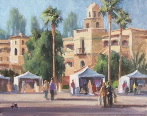 "Judi Combs' Thunderbird Artists 16"" x 20"" plein air oil painting by Tom Haas"