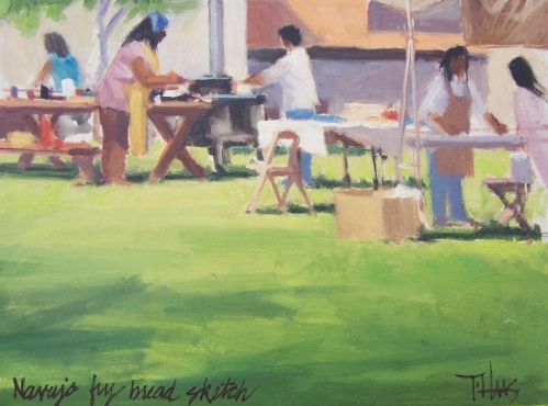 "Navajo Fry Bread 12"" x 16"" plein air oil painting by Tom Haas at small Thunderbird Artists event circa 1980s"