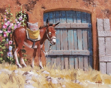 "Bean Burro 11"" x 14"" oil painting by Tom Haas"