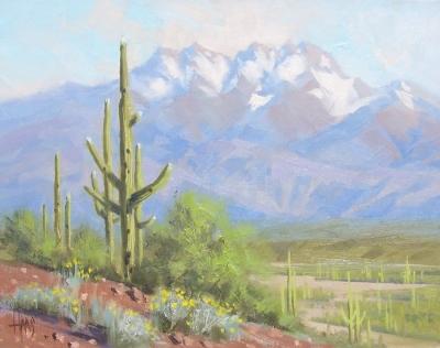 "Four Peaks - Arizona 11"" x 14"" plein air oil painting by Tom Haas"