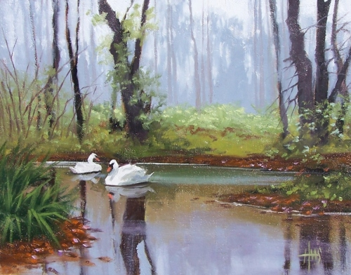 """Morning Mist 11"""" x 14"""" oil painting by Tom Haas"""