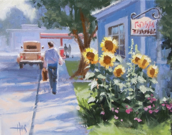 """Sunny Side of the Street 11"""" x 14"""" oil painting by Tom Haas"""