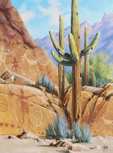 "Art Collection 24"" x 18"" oil painting by Tom Haas petraglyphs saguaro"