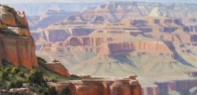 """Bradley Point - South Rim, Grand Canyon 28"""" x 57"""" oil painting by Tom Haas"""