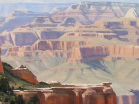 "Bradley Point - South Rim, Grand Canyon 28"" x 57"" oil painting by Tom Haas"