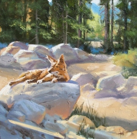"High Desert Wash 16"" x 16"" oil painting by Tom Haas"