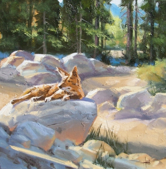 """High Desert Wash 16"""" x 16"""" oil painting by Tom Haas"""