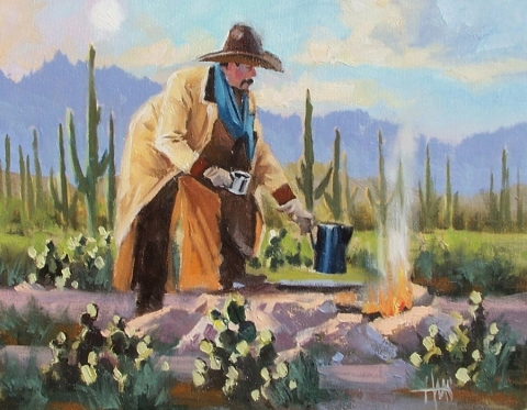 """Cowboy Coffee 11"""" x 14"""" oil painting by Tom Haas"""