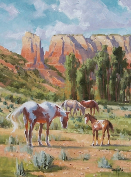 """Canyon Family 24"""" x 18"""" oil painting by Tom Haas"""