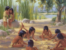 """Hohokam Afternoon Entertainment 24"""" x 30"""" oil painting by Tom Haas dated 1997"""