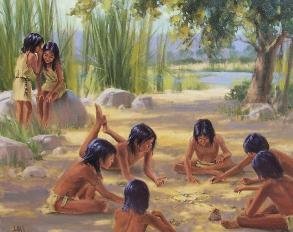 "Hohokam Afternoon Entertainment 24"" x 30"" oil painting by Tom Haas dated 1997"