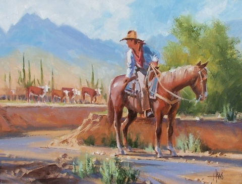 """Headin' for Water 18"""" x 24"""" oil painting by Tom Haas"""